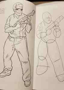 standing man with blaster on left, circles, ovals, and lines to replicate on the right
