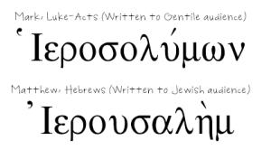 Two alternate spellings of Jerusalem
