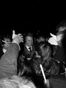 Bain de foule a Galati pour le candidat Klaus Iohannis entre les deux tours de la presidentielle en Roumanie.