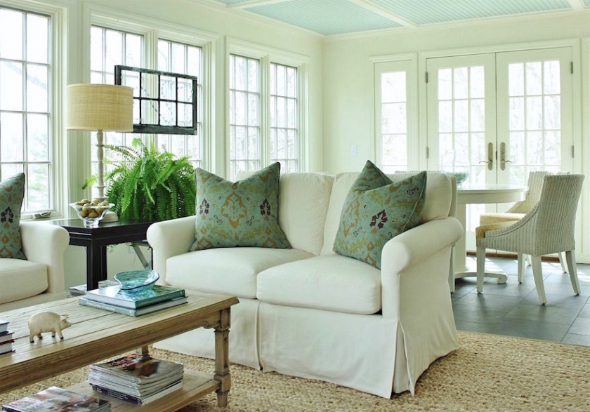 Benjamin Moore Palladian Blue Ceiling Linen White Walls Paint Colors
