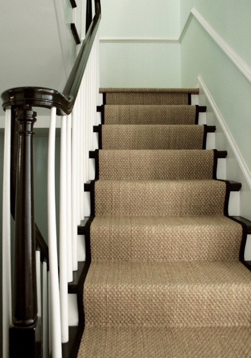 A Bad Fiber For A Stair Runner A Difficult Staircase Laurel Home   Different Carpet On Stairs To Landing   Des Kelly   Striped Carpet   Wood   Grey Carpet   Flooring