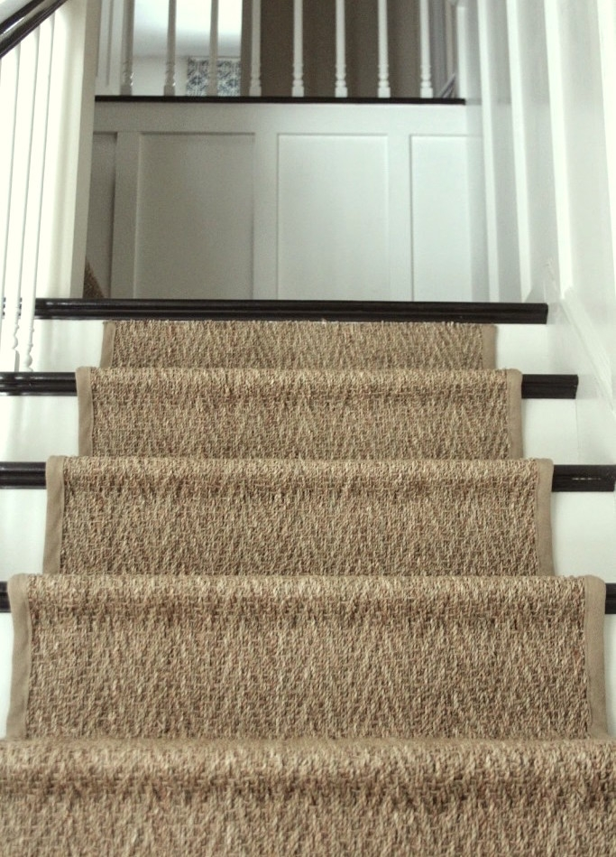 A Bad Fiber For A Stair Runner A Difficult Staircase Laurel Home | Seagrass Carpet On Stairs | Gray Wood | Hard Wearing | Grey | Stair Malay Chen Sisal | 80 20 Wool Carpet Stair