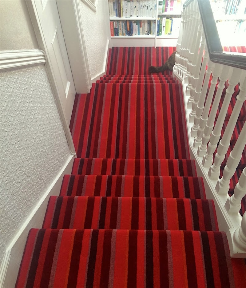Stair Runners And The One Fiber You Should Never Use | Multi Coloured Stair Carpet | American Style | Candy Stripe | Interior Design | Textured | Residence