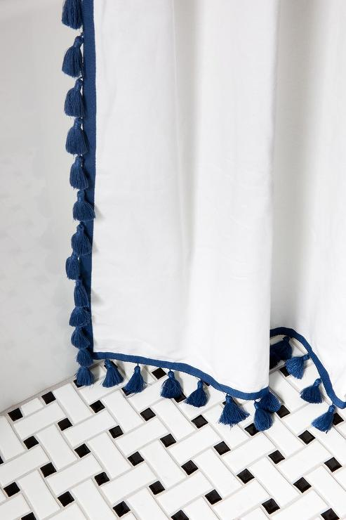 blue tassel shower curtain laurel home