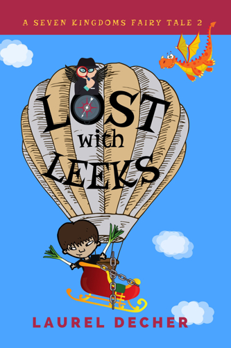 book cover showing boy in hot air balloon with leeks and a dragon flying overhead
