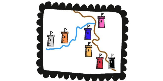 Cartoon drawing of the Seven Kingdoms with locations on Rhine and Mosel Rivers marked by colored towers