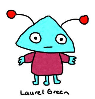 a drawing of a blue alien