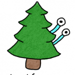 a drawing of a critter hiding behind a tree