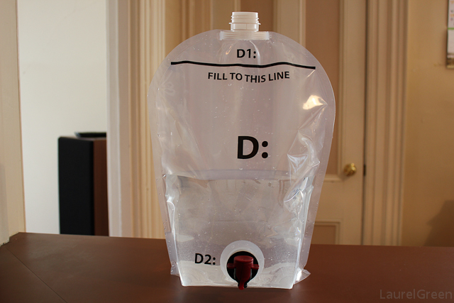 a photo of a fermenting pouch half-full of water