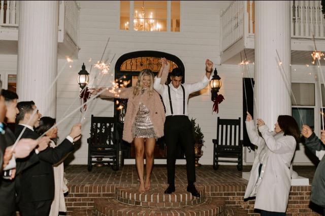 wedding sparklers, reception departure, December wedding