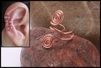 wire wrapped double spiral earcuff