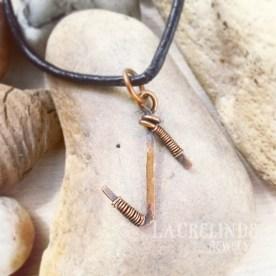 eihwaz copper wirewrapped rune pendant