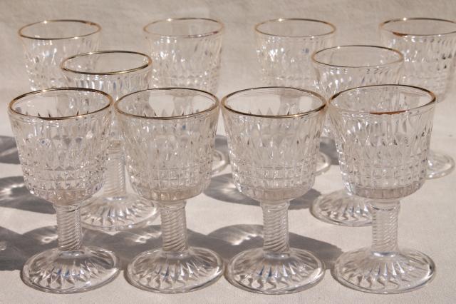 10 Tiny Wine Glasses Antique Eapg Wines W Gold Trim