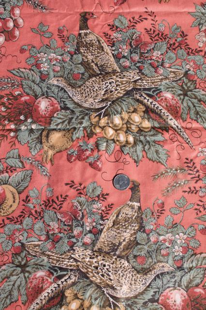 18 Yards Vintage French Game Birds Pheasants Rose Pink Red