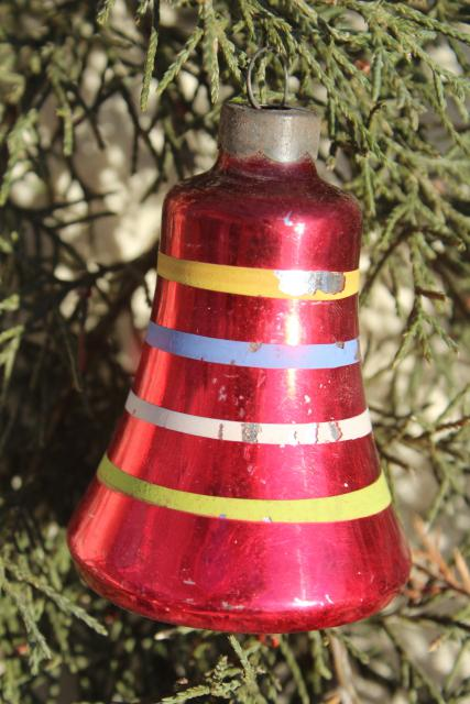 1950s Christmas Tree Ornaments Painted Glass Bells Shiny
