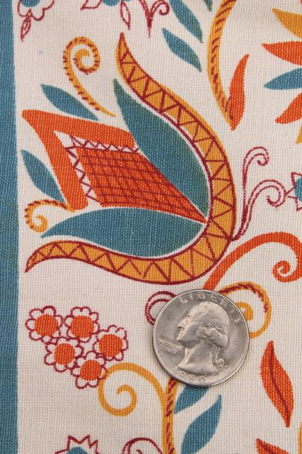 50s 60s Vintage Cotton Decorator Fabric Penna Dutch Folk