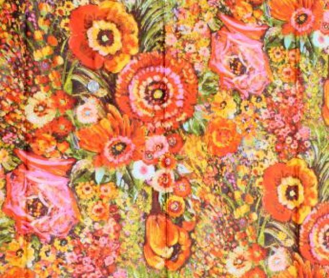 70s Vintage Flowered Print Fabric Retro Floral Marked Daido Maruta Japan