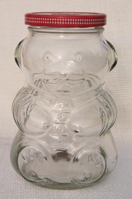 80s Vintage Kraft Jelly Jar W Teddy Bear Shape Glass Jam