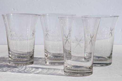 Bethlehem Star Six Point Stars Vintage Etched Glass Tumblers Set Of Four Glasses