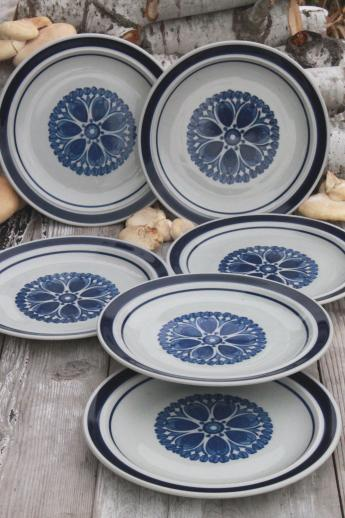 Blue Monterrey Stoneware Dinner Plates Set Of 6 Vintage