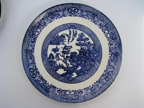 Blue Willow Pattern Vintage China Dishes Lot Of 6 Dinner