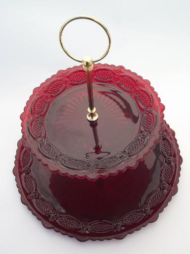 Cape Cod Royal Ruby Red Vintage Avon Glass Two Tier Cake