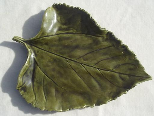 Portugal Pottery Cheese Leaf Plates Majolica Style Leaves