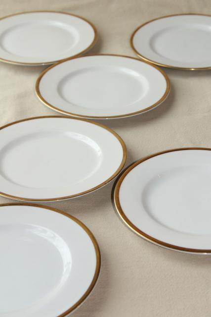 Antique Bavaria China Baronial Gold Band White Porcelain