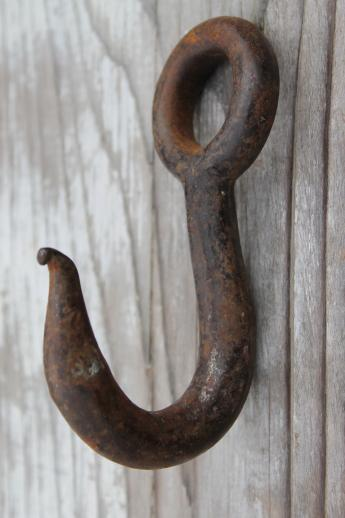 Authentic Antique Barn Hardware Old Forged Iron Hook Farm