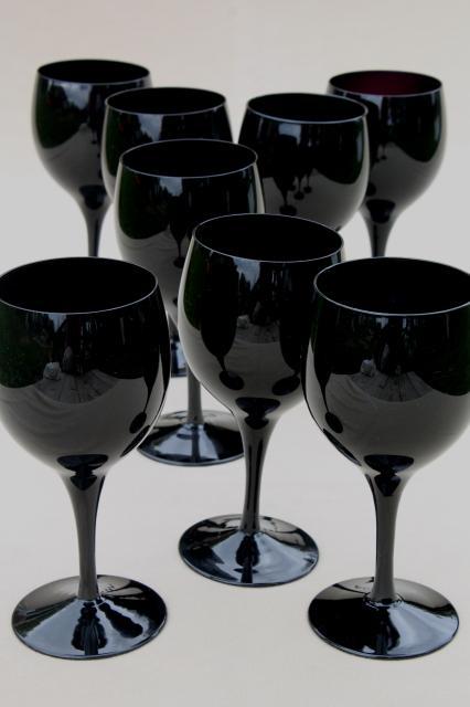 Black Glass Water Glasses Or Wine Goblets Vintage