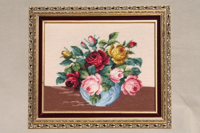 Bohemian Vintage Framed Rose Bouquet Crewel Wool