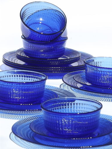 Cobalt Blue Mexican Glass Dishes Set For 6 Crisa Mexico