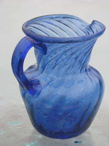 Cobalt Blue Swirl Hand Blown Glass Pitchers Vintage Mexican Art Glass