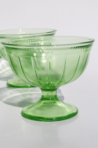Collection Of Vintage Green Depression Glass Sherbet Bowls