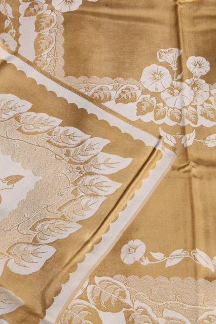 Gold Amp White Floral Satin Damask Table Linens Vintage Tablecloth Amp Napkins Set