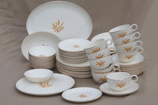 Golden Wheat Dishes Vintage China Set For 10 Taylor