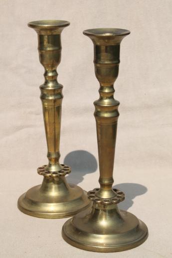 Heavy Solid Brass Candlesticks Pair Of Vintage Brass