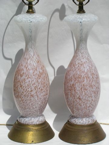 Huge Vintage French Table Lamps Murano Style Twisted
