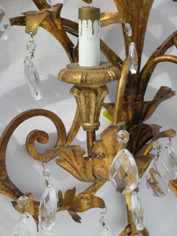 Huge Vintage Italian Tole Glass Prisms Wall Sconce Lamp