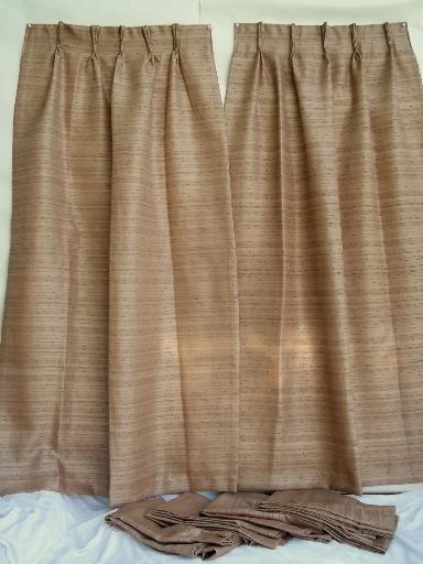 Mid Century Mod Hemp Colored Barkcloth Texture Fiberglass Drapes Vintage 50s 60s