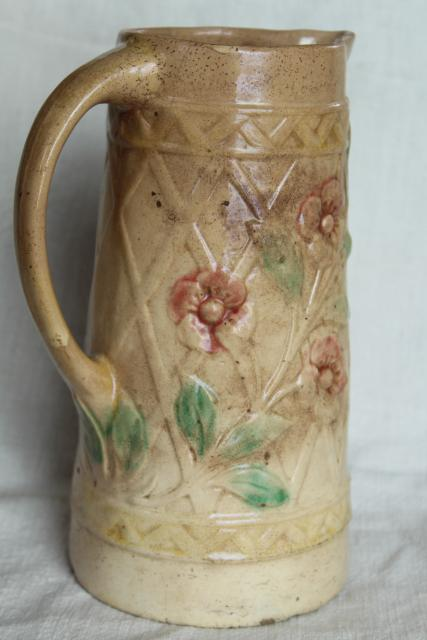 Old Antique Roseville Pottery Pitcher Majolica Style Wild