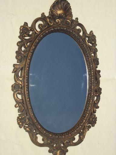 Vintage Carolina Mirror W Round Antique Gold Frame French Country Style