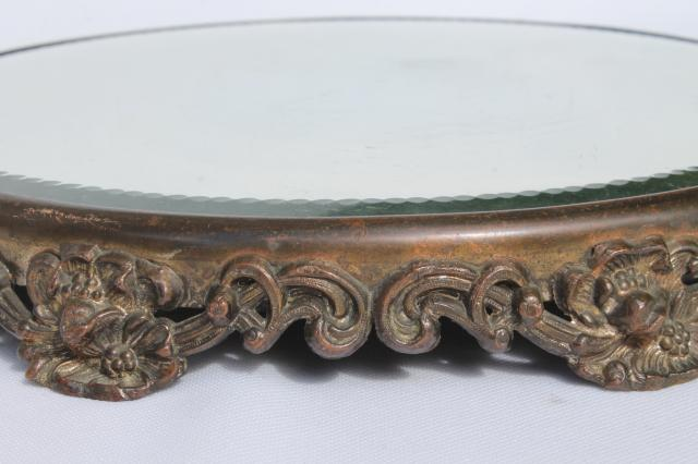 Ornate Metal Frame Plateau W/ Round Glass Mirror, Vintage