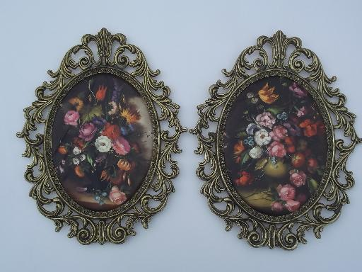 Ornate Metal Picture Frames W Padded Satin Floral Prints