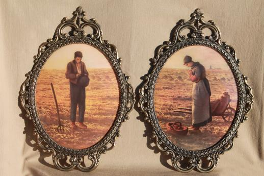 Pair Large Ornate Metal Picture Frames W/ Curved Convex
