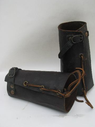 Pair Of Antique Vintage Leather Archery Bracers Wrist