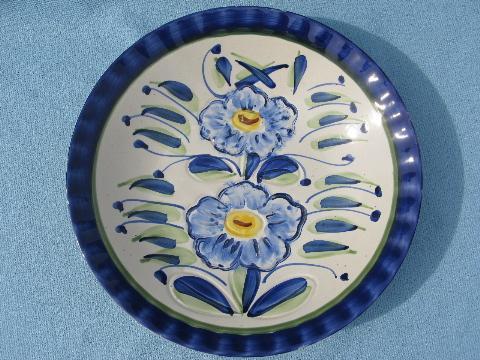Signed Berhihi Italy Bowl Handpainted Flowers Vintage