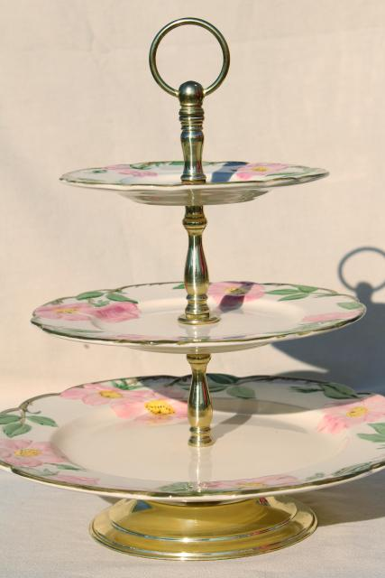 Three Tier Cake Plate Tiered Serving Tray Vintage Franciscan Desert Rose Pattern