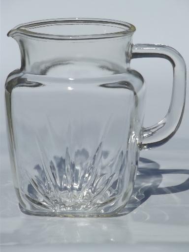 Vintage Federal Star Pattern Glass Pitcher Large Old Milk