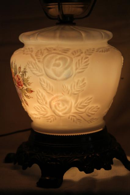 Vintage Fenton Milk Glass Lamp Puffy Rose W Roses Lampshade Amp Lighted Base